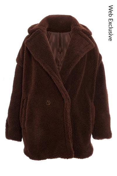 Brown Teddy Bear Oversized Jacket